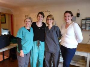The vet team: Charlotte Whitty, Sinead Falvey, Hazel Kirby and Lorna Cashman